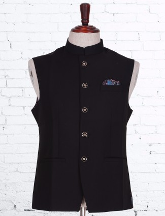 Solid black terry rayon party waistcoat
