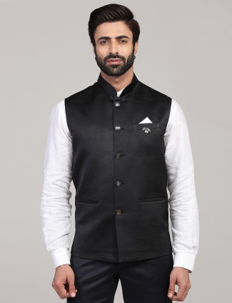 Solid black terry rayon party wear mens waistcoat