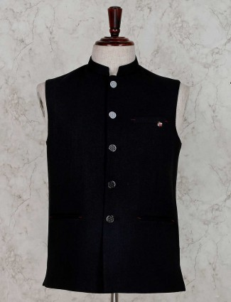 Solid black terry rayon party wear waistcoat