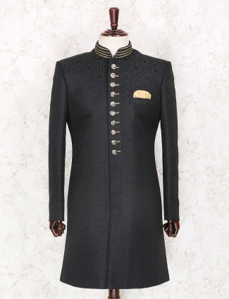 Solid black textured party wear indo western