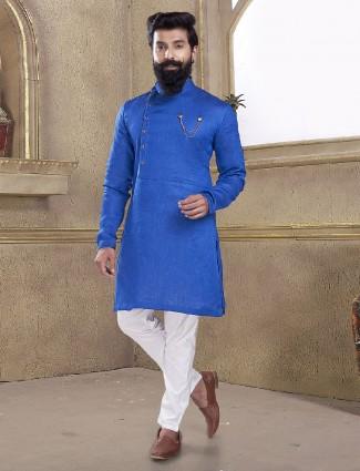 Solid blue color kurta suit for mans
