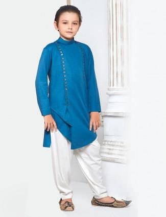 Solid blue color pathani suit