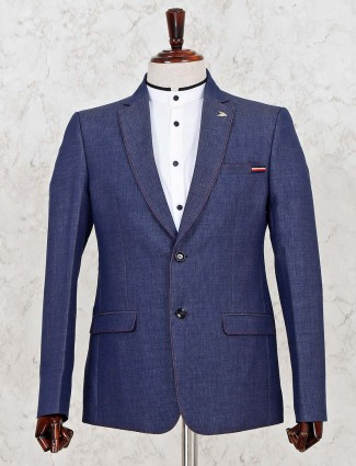 Solid blue color terry rayon fabric mens blazer