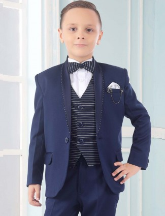 Solid blue color terry rayon party tuxedo suit