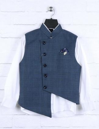 Solid blue colored boys waistcoat set