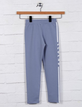 Solid blue cotton casual jeggings