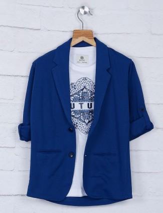 Solid blue cotton fabric blazer