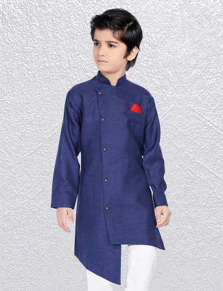 Solid blue cotton short kurta