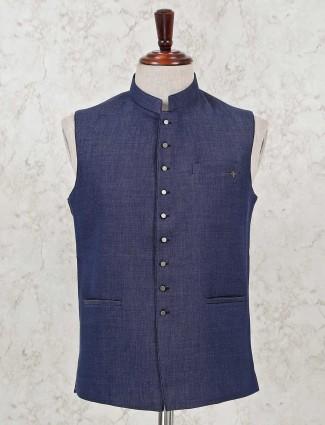 Solid blue cotton silk party wear waistcoat