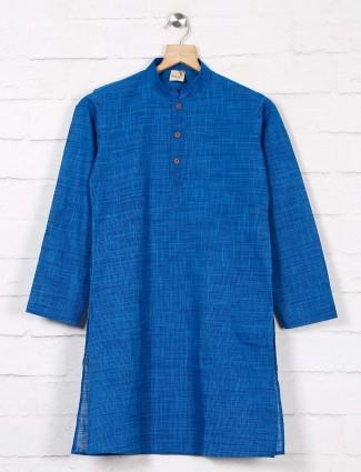 Solid blue cotton simple kurta suit