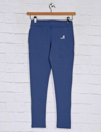 Solid Blue cotton track pant in cotton