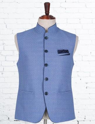 Solid blue jute classy waistcoat