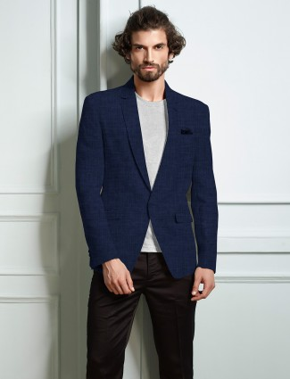 Solid blue lenin blazer party wear