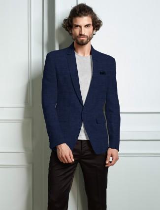 Solid blue lenin blazer party wear