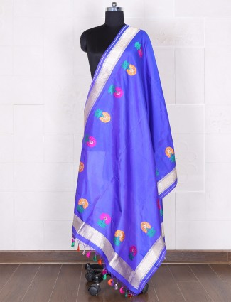 Solid blue silk dupatta