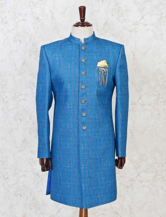 Solid blue terry rayon mens indo western