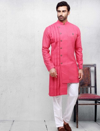 Solid bright pink color cotton fabric kurta suit