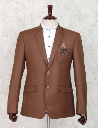 Solid brown colored party blazer