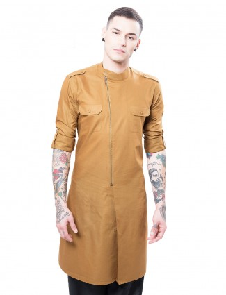 Solid brown cotton silk alluring kurta suit