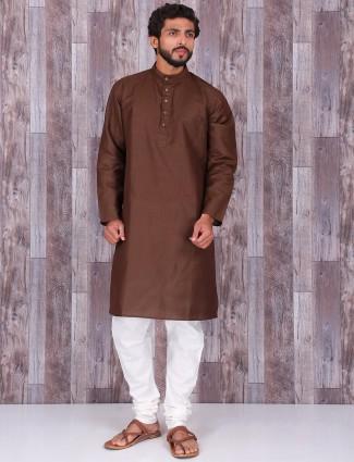 Solid brown cotton silk kurta suit
