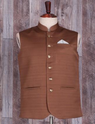 Solid brown cotton silk waistcoat