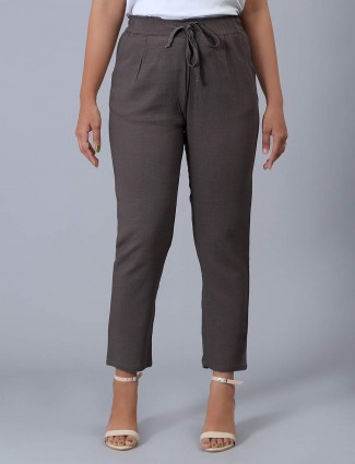 Solid brown linen pyjama casual wear
