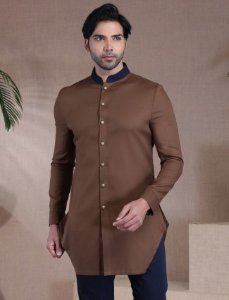 Solid brown only kurta in cotton for mens
