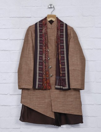 Solid brown silk fabric party wear indo western