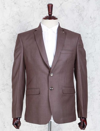 Solid brown terry rayon coat suit