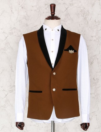 Solid brown terry rayon waistcoat