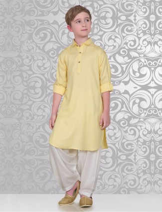Solid cotton plain yellow festive wear pathani suit