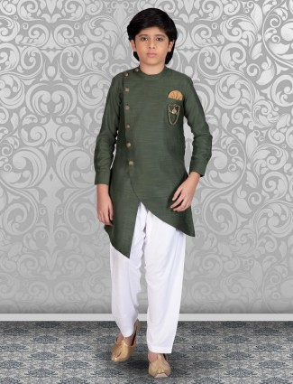 Solid dark green cotton kurta suit