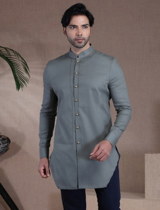 Solid dark grey mens kurta in cotton