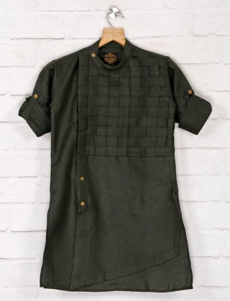 Solid dark olive cotton kurta suit