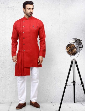 Solid festive occasion red hued kurta suit