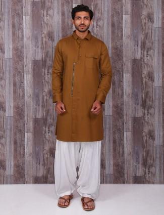 Solid festive wear khakhi kurta suit