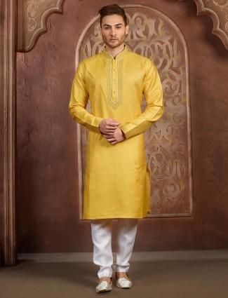 Solid gold festive function cotton silk kurta suit