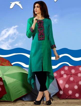 Solid green silk kurti
