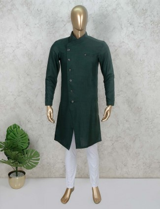 Solid green stand neck kurta suit