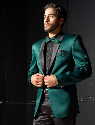 Solid green terry rayon coat suit