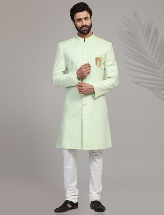 Green wedding wear chikan linen indo western