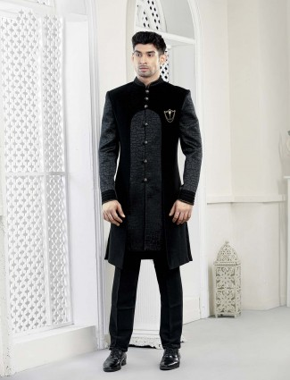 Solid grey and black hue velvet indo western