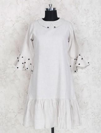 Solid grey color cotton kurti