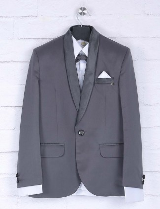 Solid grey color party wear tuxedo suit