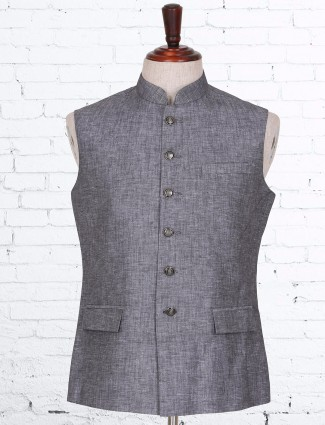 Solid grey festive wear cotton linen waistcoat