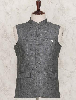 Solid grey hue party wear waistcoat