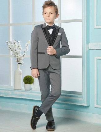 Solid grey color three piece terry rayon tuxedo suit