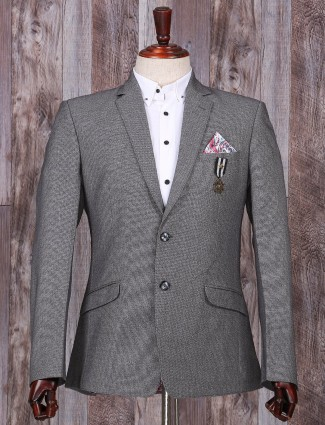 Solid grey party wear terry rayon blazer
