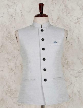 Solid grey raw silk waistcoat