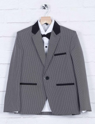 Solid grey terry rayon tuxedo suit
